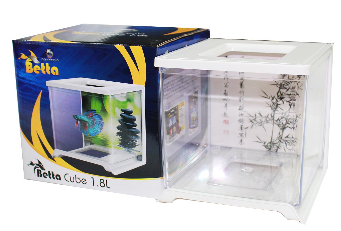 Betta cube 1 8l white aquarium tanks single aquatopia for Aquarium cube