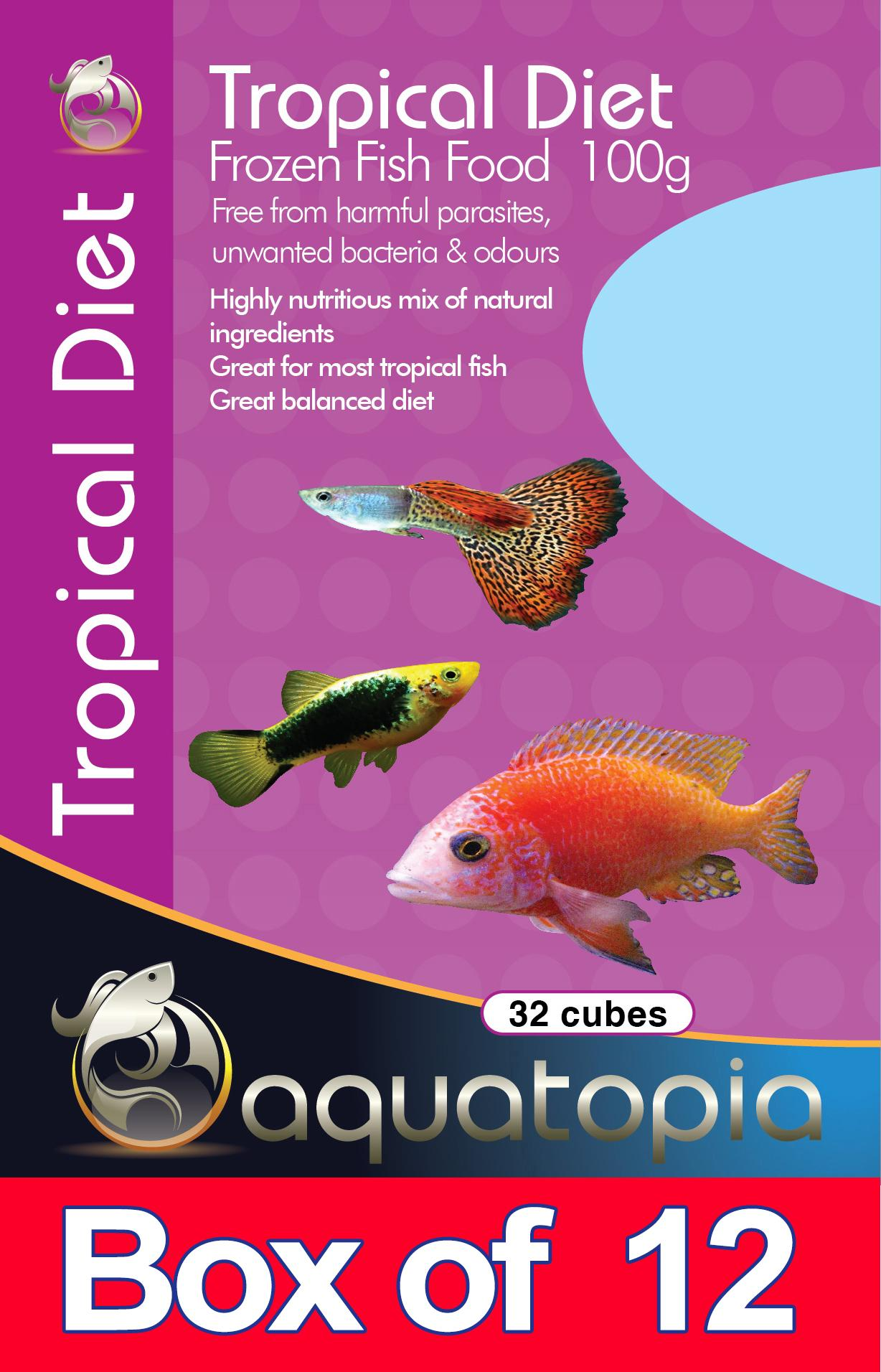 Frozen tropical diet 100g box of 12pks live fish food for Frozen fish food