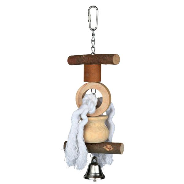 NATWOOD HANGING TOY WITH BELL/ROPE 20CM - Click to enlarge