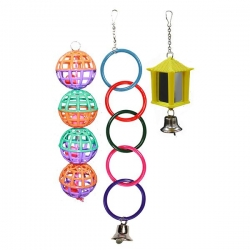 BIRD TOY 3 PK RINGS BALLS MIRROR LANTERN - Click for more info
