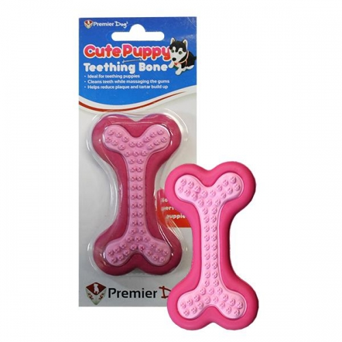 CUTE PUPPY TEETHING BONE PINK - Click for more info