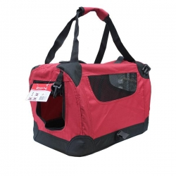 SOFT PET CRATE RED/BLACK 61X41X41CM - Click for more info