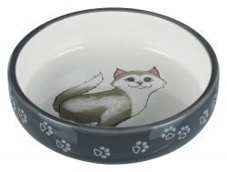 CAT BOWL SHORT-NOSED CERAM 0.3L 15CM GRY - Click for more info