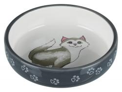 CAT BOWL SHORT-NOSED CERAM 0.3L 15CM GRY - Click for more info
