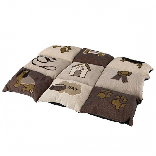 PATCHWORK BLANKET 55X40CM BROWN/BEIGE - Click for more info
