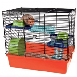 SMALL RODENT CAGE 40X38X30CM ORG/BL/GRN - Click for more info