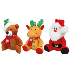 ASST SANTA CLAUS, REINDEER AND BEAR 20CM - Click for more info