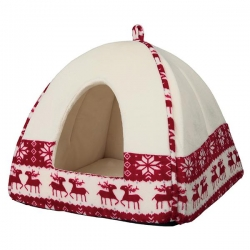 SANTA CUDDLY CAVE 38X35X38CM RED/CREME - Click for more info